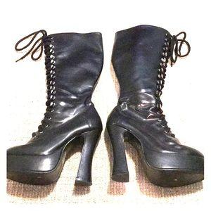 Black knee high platform heels lace up size 7 sexy